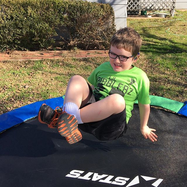 That smile while jumping on the trampoline.