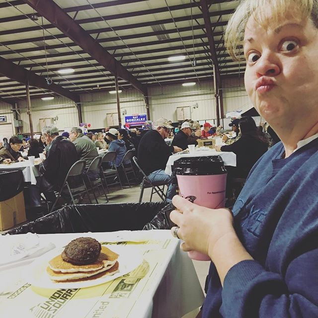 Hehe that face. Mom at the pancake festival.