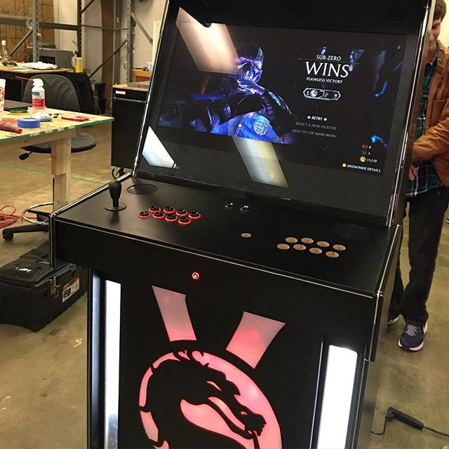 Someone making an arcade machine at @dallasmakerspace