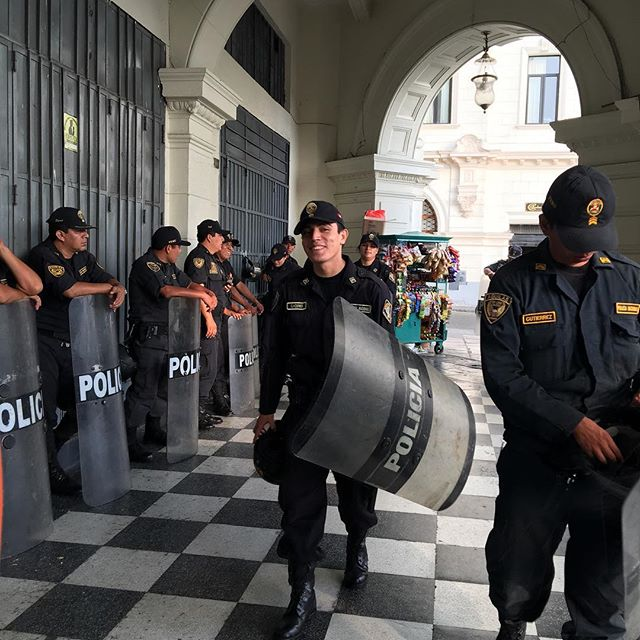 National police in Lima, Peru
