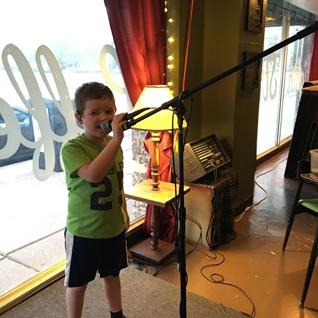 Hero singing at Anthony's birthday party. The mic wasn't hooked up ?