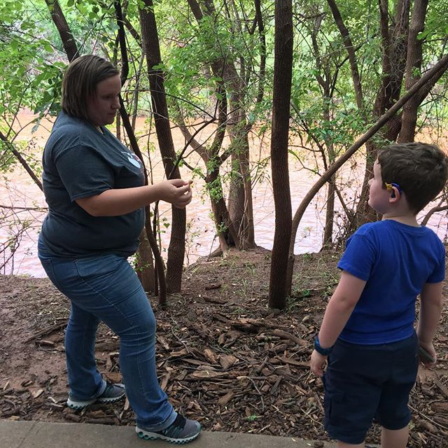"While on a walk at the park, Sara stopped to show Hero a mushroom on the side of the trail. She always says, ""everything is a teachable moment"". #lifewithateacher"