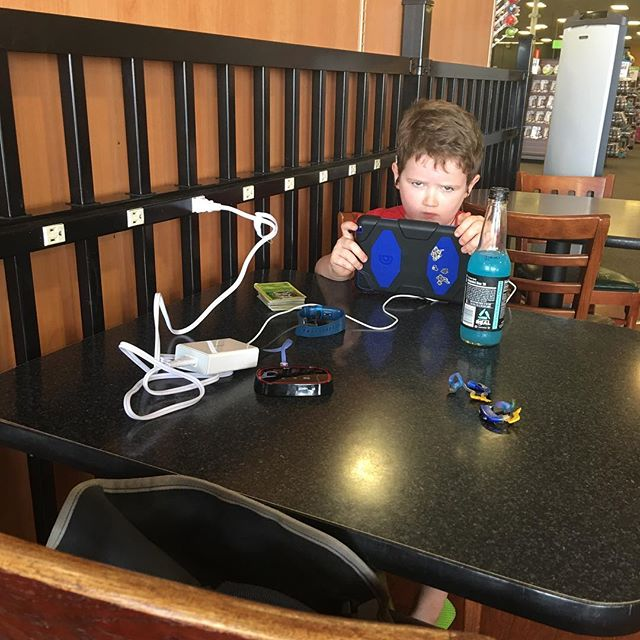 Brought this kid with me to the coffee shop. He apparently didn't want this picture taken. Psh.