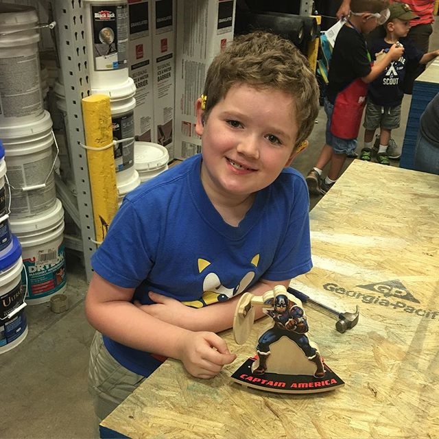 Hero, mainly Sara, built a Captain America display at Lowe's today.