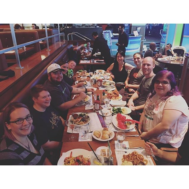 Automatticians and guests eating seafood before WordCamp Boston #wcbos.