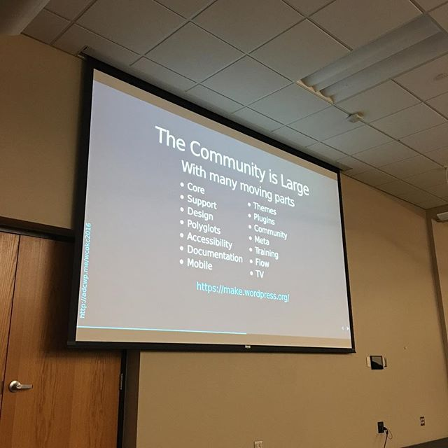 Listening to @aarondcampbell explain the WordPress community at #wcokc. First WordCamp as an attendee in quite a while. 😄