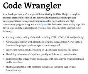 Code Wrangler job description