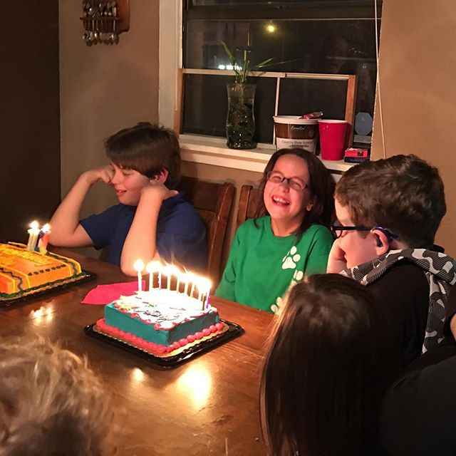 Birthday cake for Destiny, Harley, Jake, and Uncle Marty.