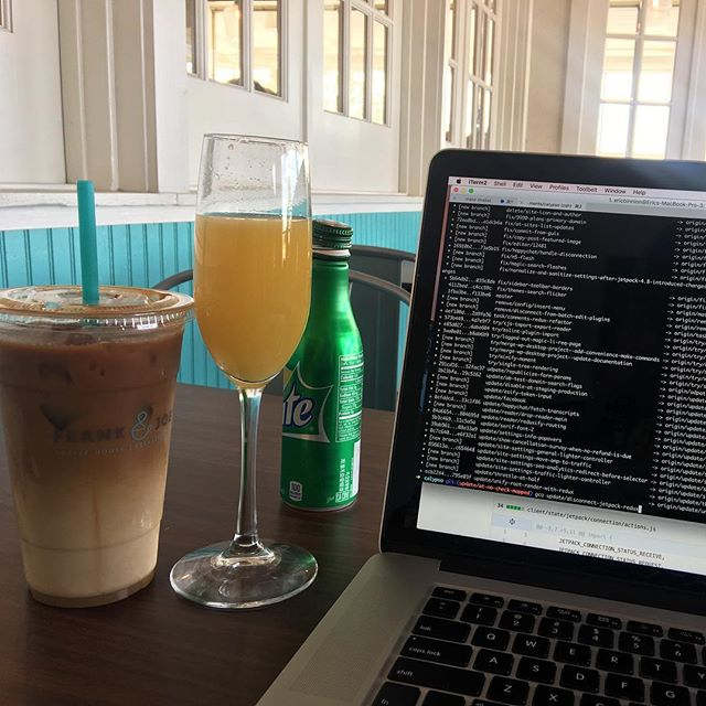 Mimosa, coffee, and code.