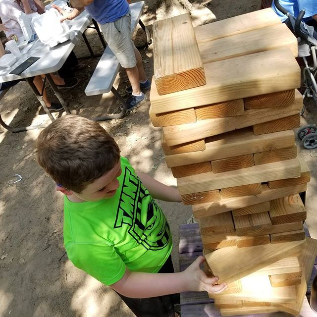 Played giant jenga with Hero at the lavender festival